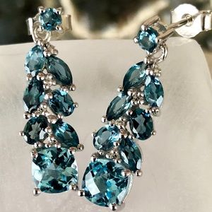 "SS 27mm 1"" London & Sky Blue Topaz drop Earrings"